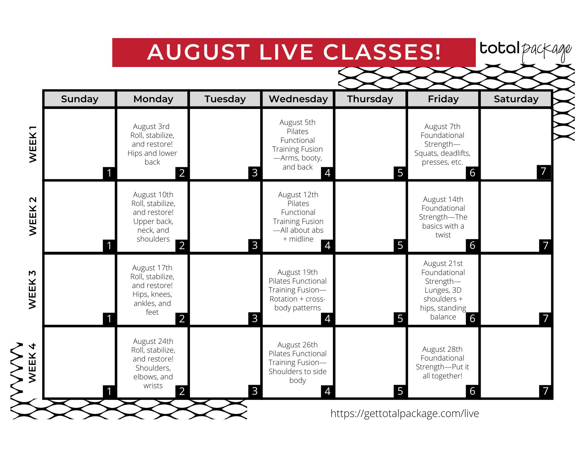 August Live Classes
